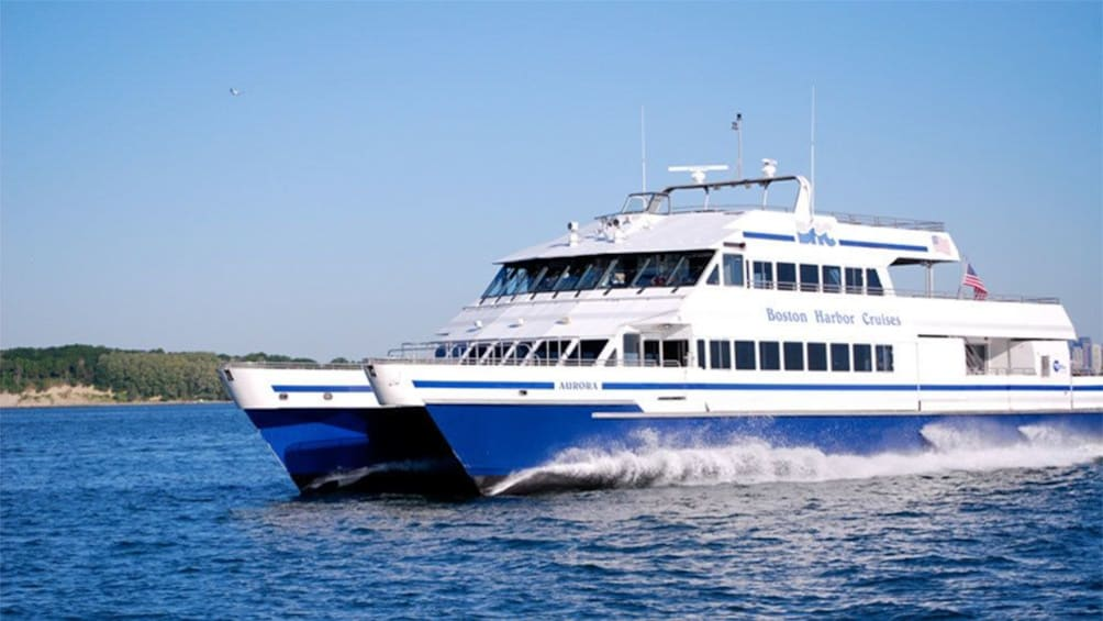 Whale watching cruise boat in Boston Harbor