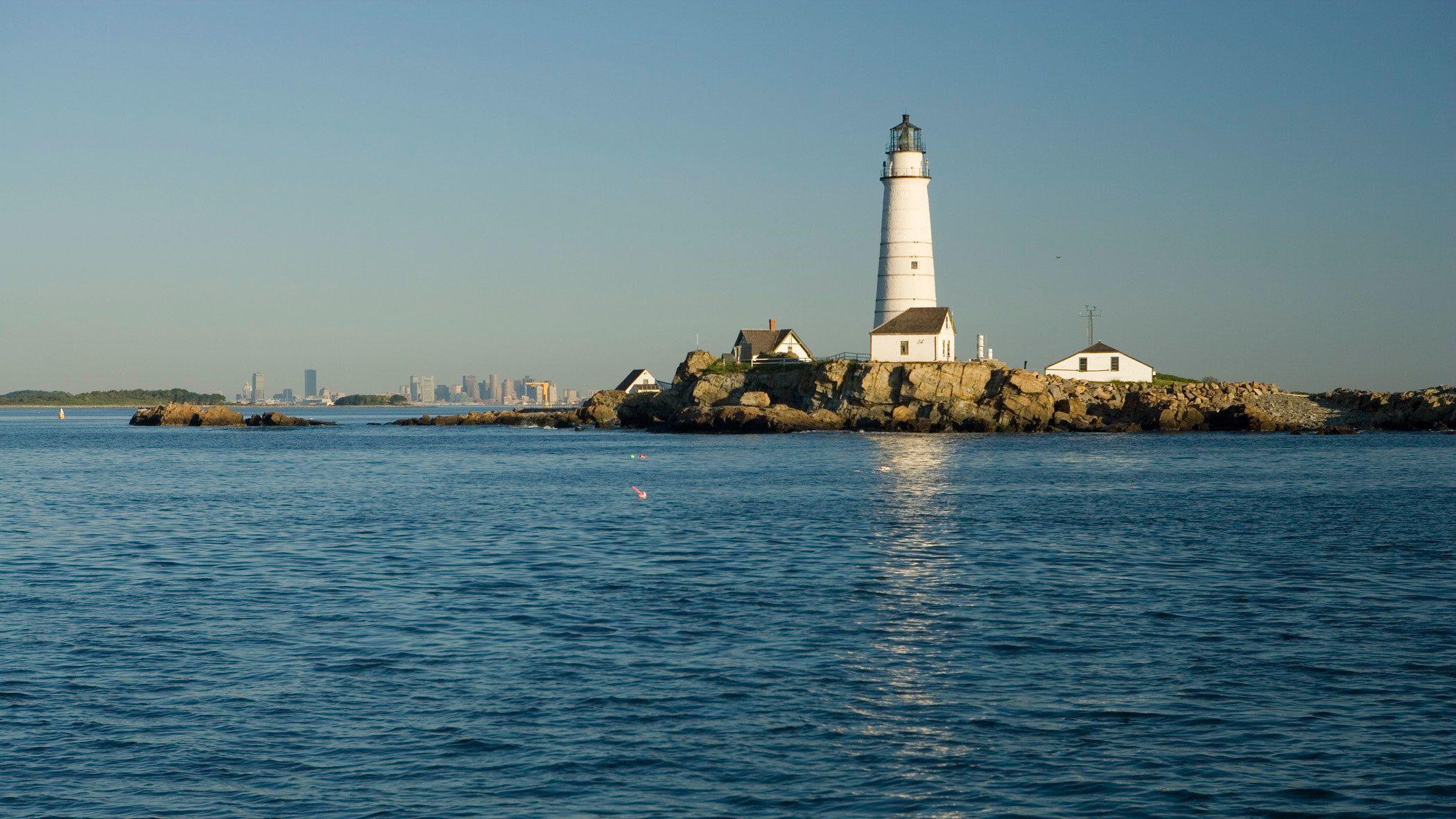 Boston Light on Little Brewster Island in Boston Harbor