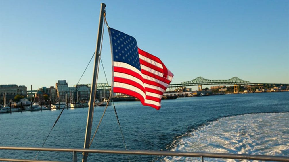 Show item 2 of 5. View from the back of a cruise ship in Boston Harbor