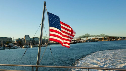 View from the back of a cruise ship in Boston Harbor