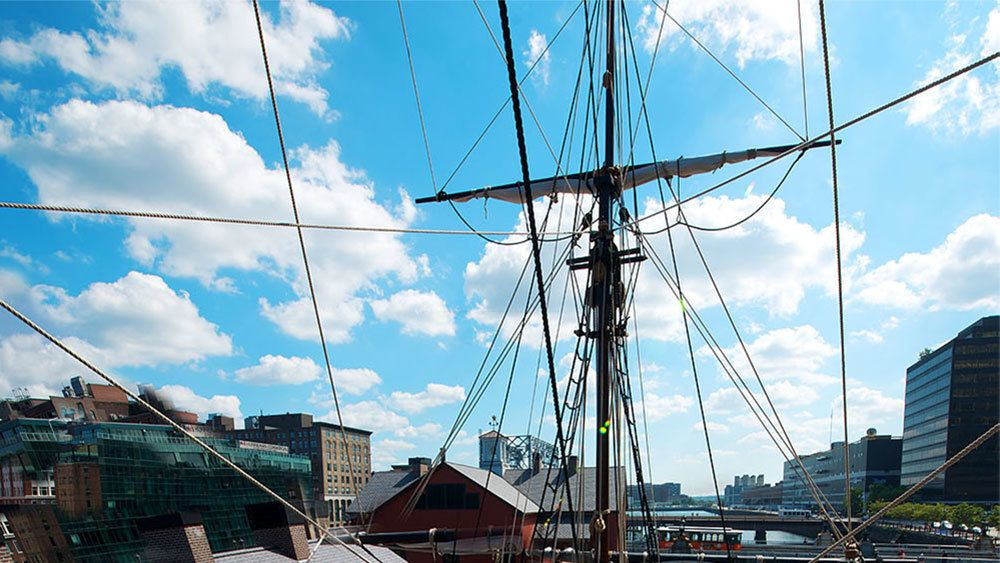 Large mast of one of the restored ships from the Boston Tea Party