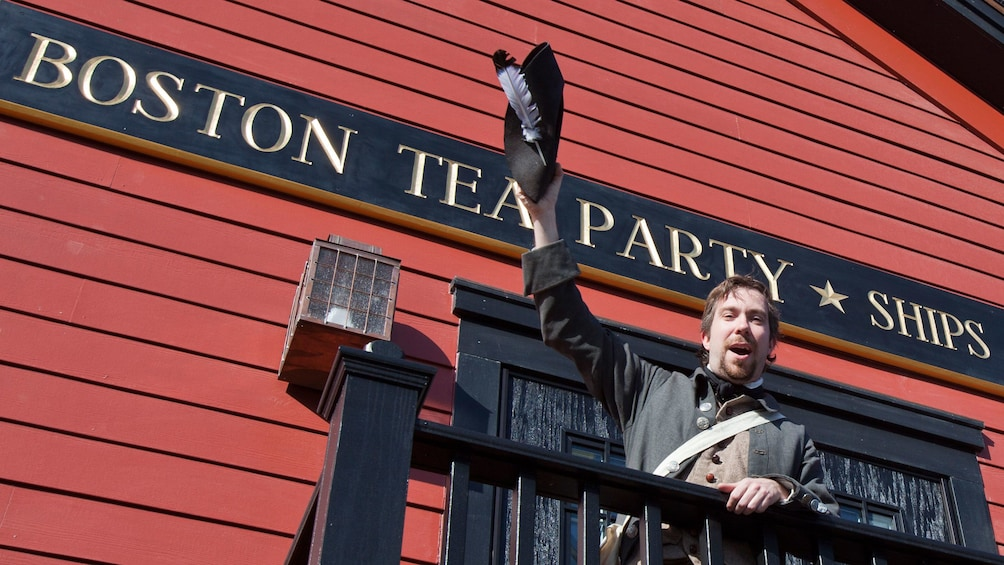 Show item 1 of 10. Boston Tea Party Ships Museum with costumed tour guide in Boston