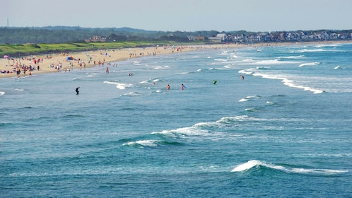 Beachgoers in the water and along the sandy shore on the coast of New England