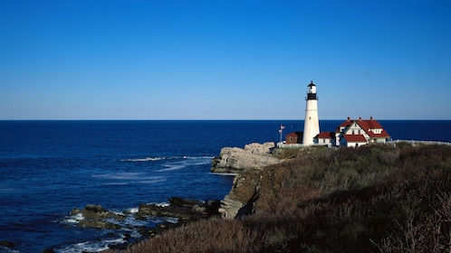 Nubble Light on the rocky New England coast in Maine