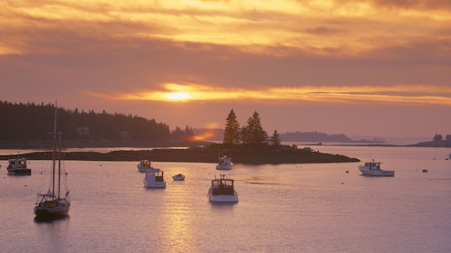 Boats anchored near a small island at sunset in New England