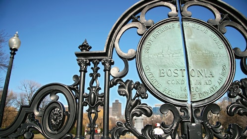 City seal on the entrance gate of Public Park in Boston