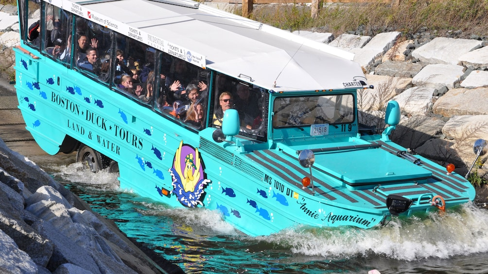 Show item 1 of 10. Boston Duck tour crashing into the water