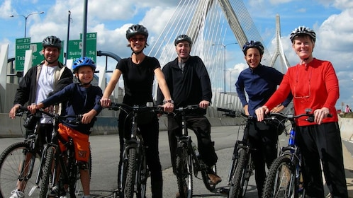 Bicycling group on the Zakim Bridge in Boston