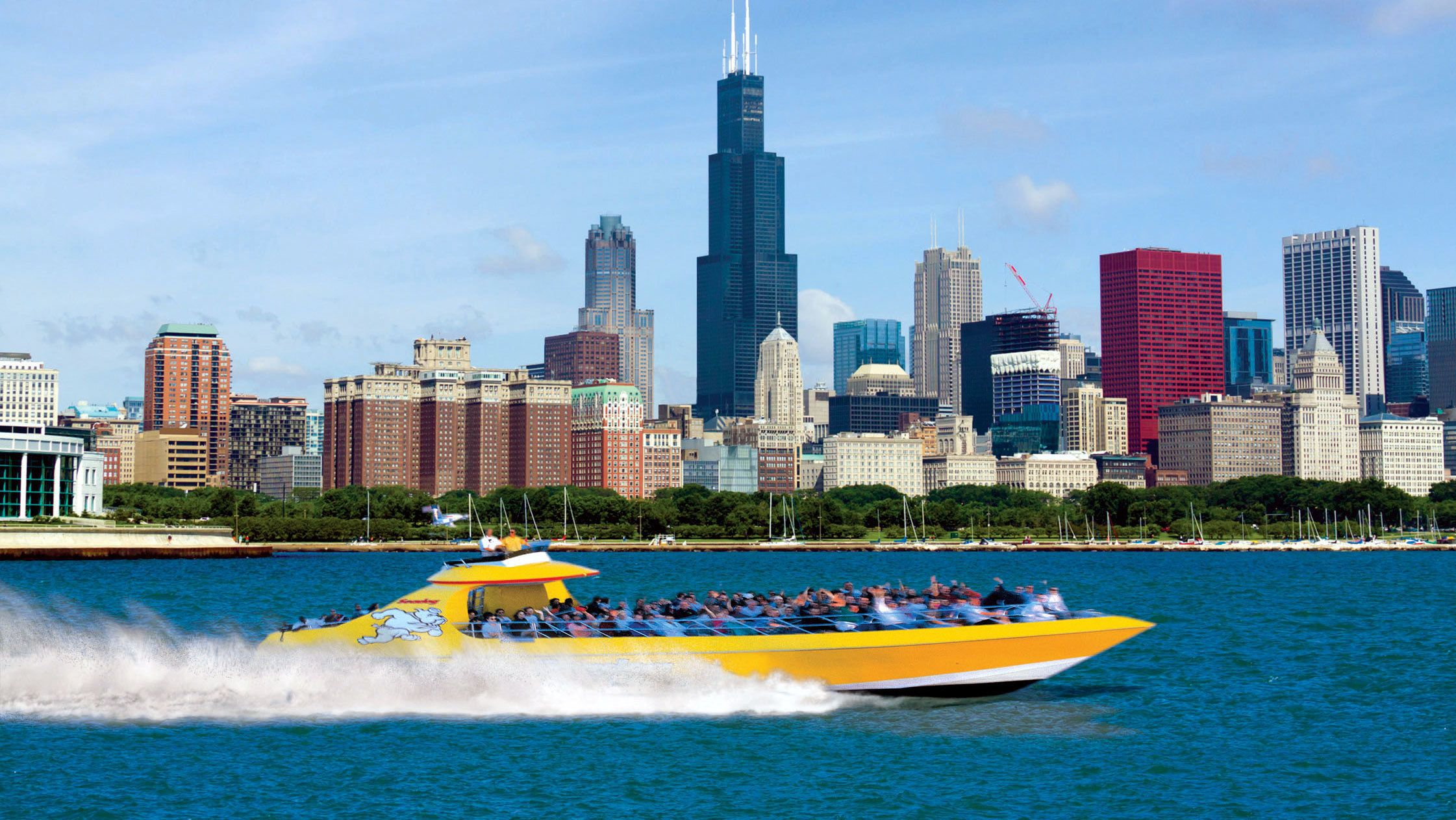 yellow speed boat in the water in chicago