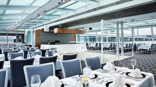 Spacious dining area aboard the Odyssey of Washington cruise ship in Washington DC
