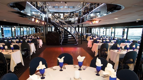 Bottom level of two-story dining area inside the Spirit of Boston cruise ship