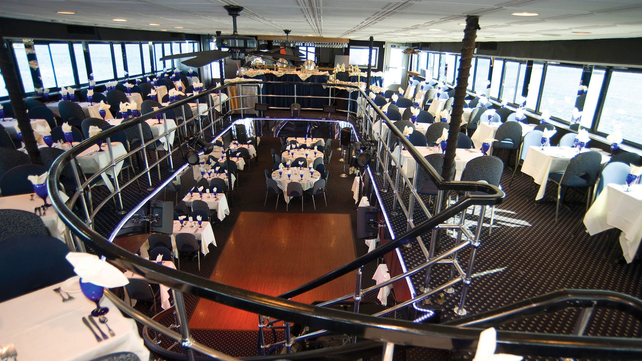 Two level dining area inside the Spirit of Boston cruise ship