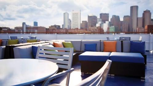 Outside lounge area on the Spirit of Boston cruise ship