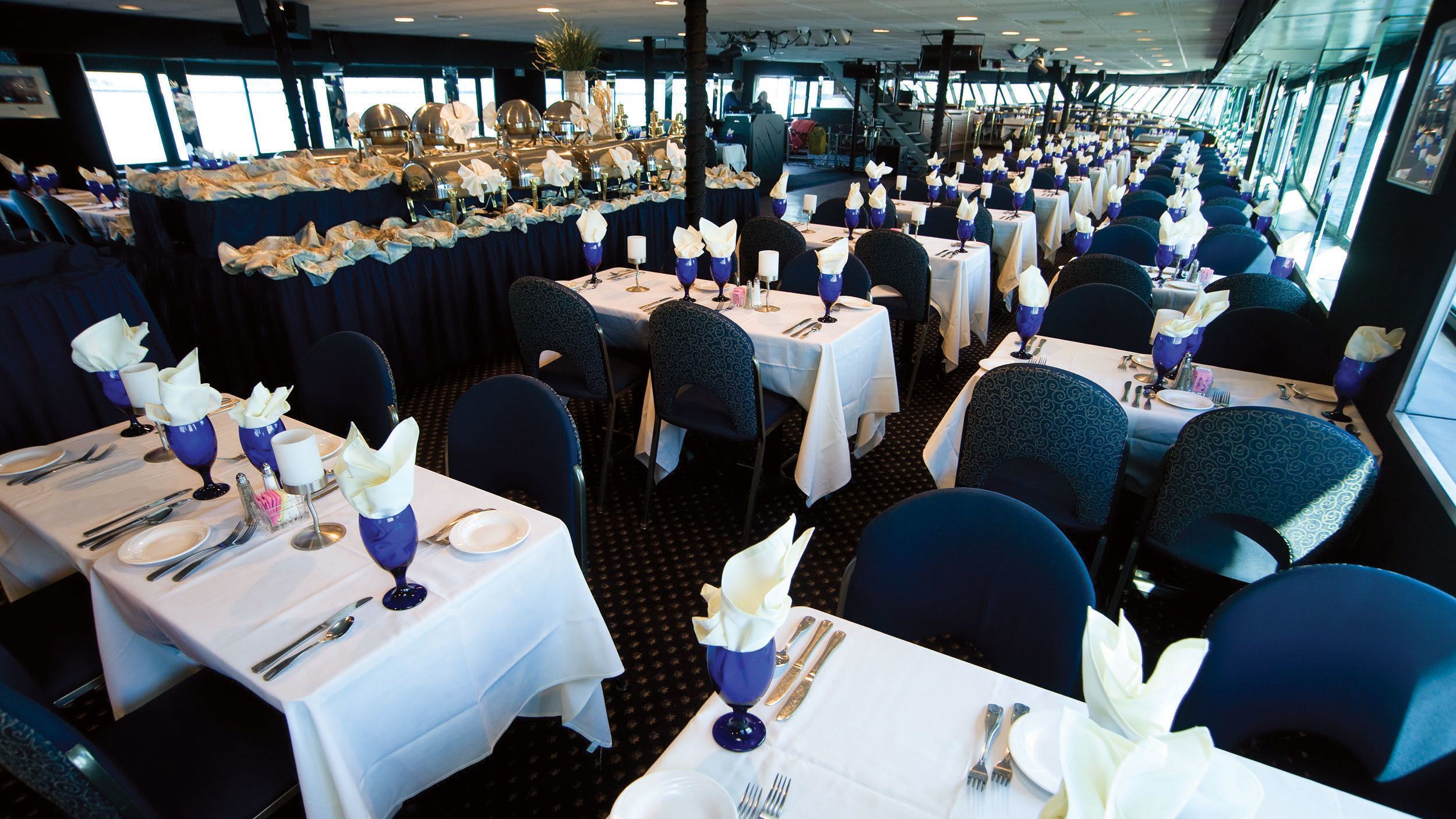 Interior dining room on the Spirit of Boston cruise ship