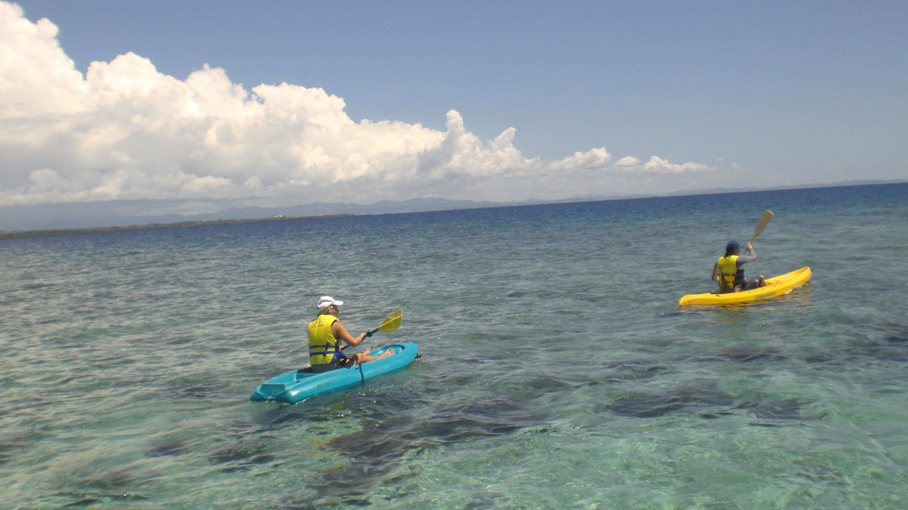 kayakers out in the water in Fiji