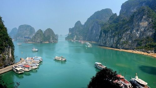 boats docked at the bay near the mountains in Vietnam