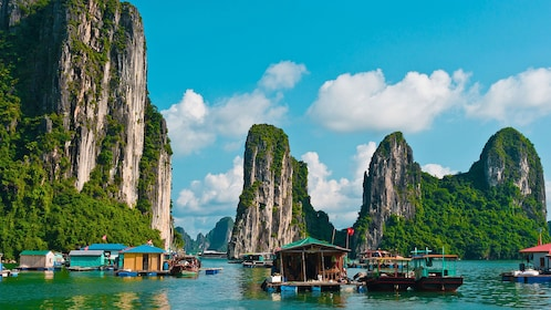 houseboats on the water in Vietnam