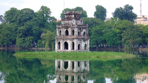 lone structure at the Hoan Kiem Lake in Vietnam