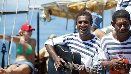 musicians performing on the boat in Fiji