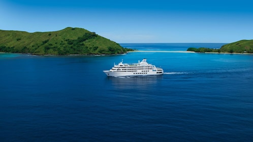 cruise ship out at sea in Fiji