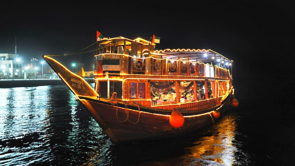 dinner at night on boat in Abu Dhabi