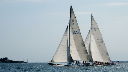 Sailboats cruising in the waters of Newport