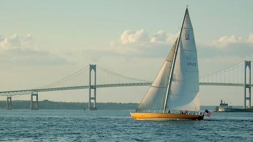 Sailing near the bridge in Newport