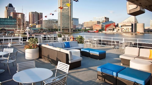 Rooftop view seating is available on the Spirit of Baltimore cruise ship
