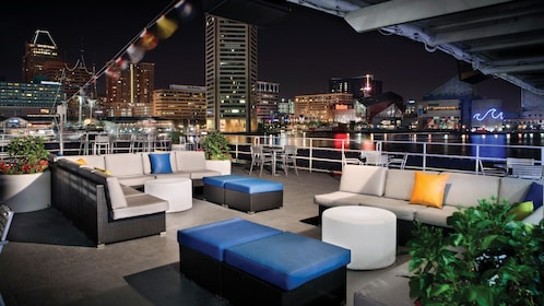 Evening view of the roof top deck on the Spirit of Baltimore cruise vessel