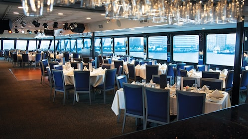 Dining and seating area aboard the Spirit of Norfolk Dinner Cruise in Virginia