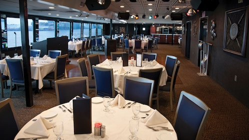 Dining area aboard the Spirit of Norfolk Dinner Cruise in Virginia