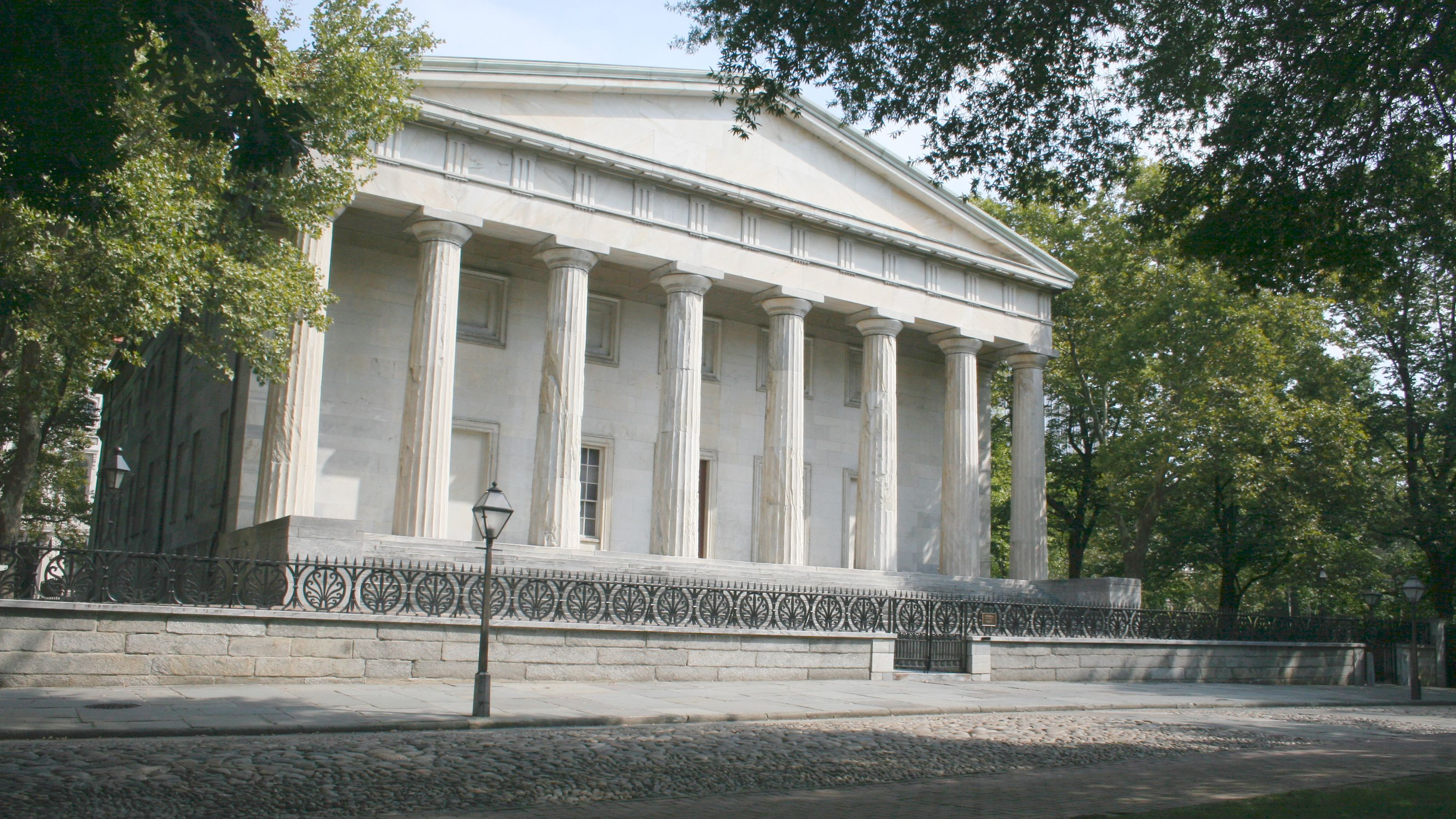 Historical white columned Second Bank of the United States in Philadelphia