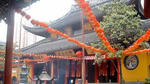 Close view of the Jade Buddha Temple in Shanghai