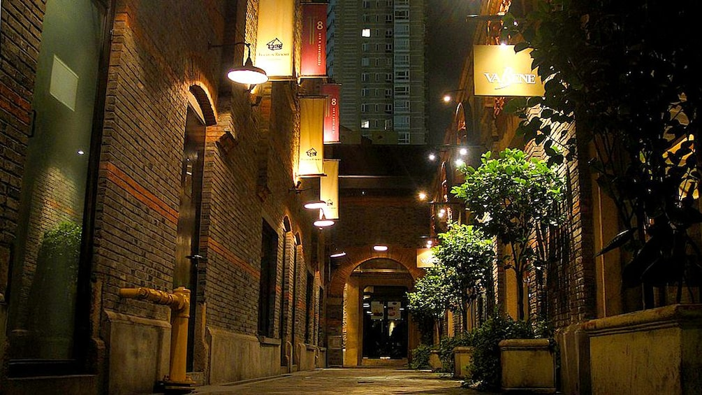Outside night view of a road in Shanghai