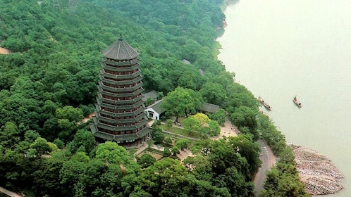 Aerial view of the Liuhe Pagoda in Hangzhou