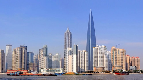 Serene downtown view of Shanghai during the day