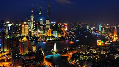 Night aerial view of the city of Shanghai