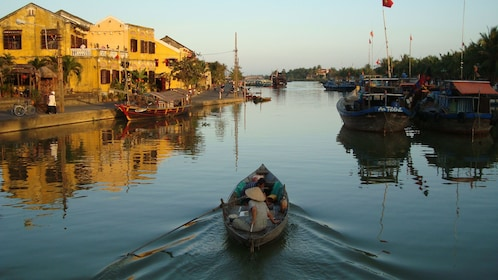 View at sunset of the Thu Bon River Cruise in Vietnam