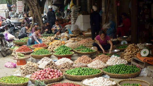 Local market with fresh ingredients in Ho Chi Minh City