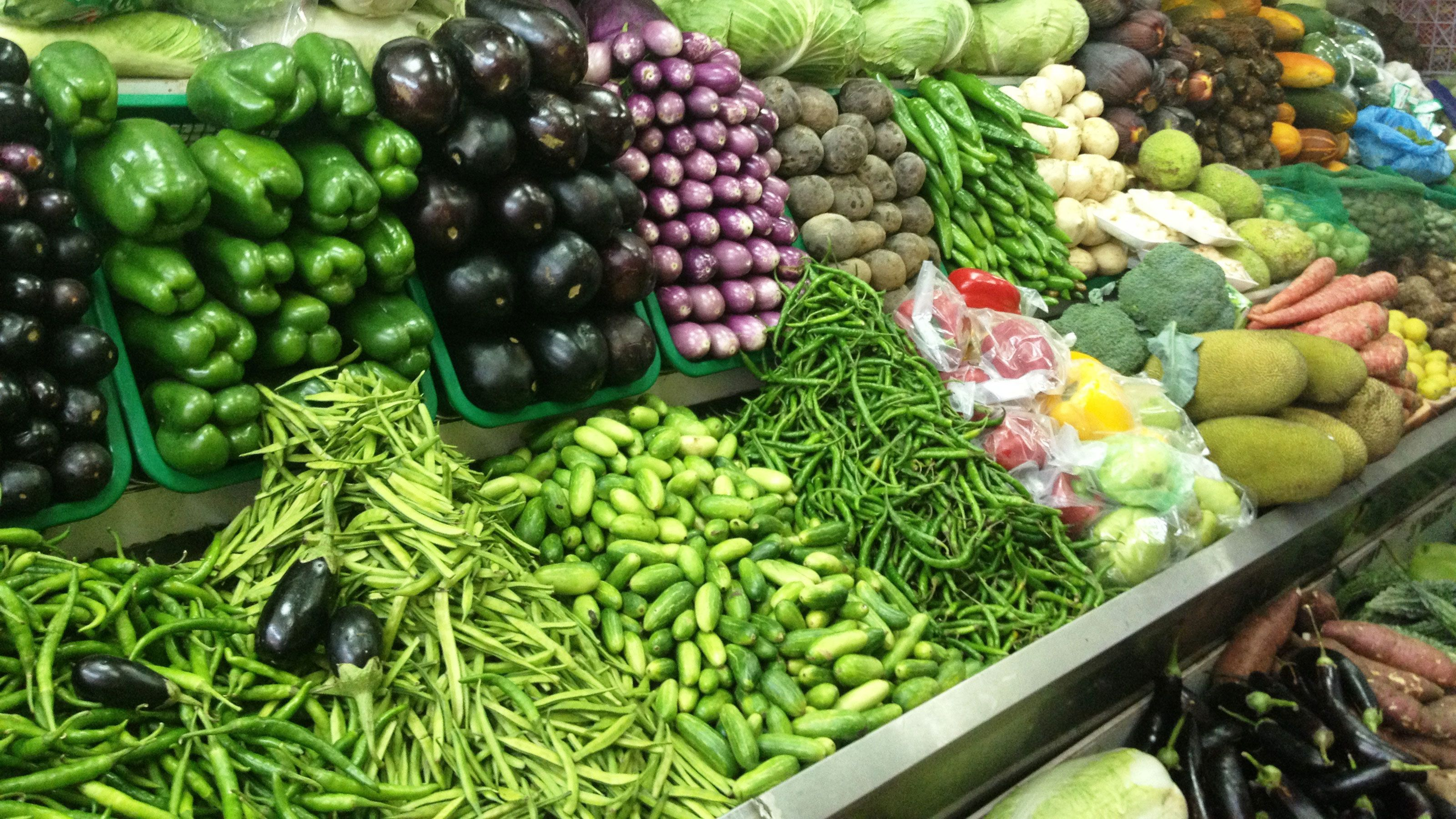 Close view of the vegetables at the local market in Ho Chi Minh City