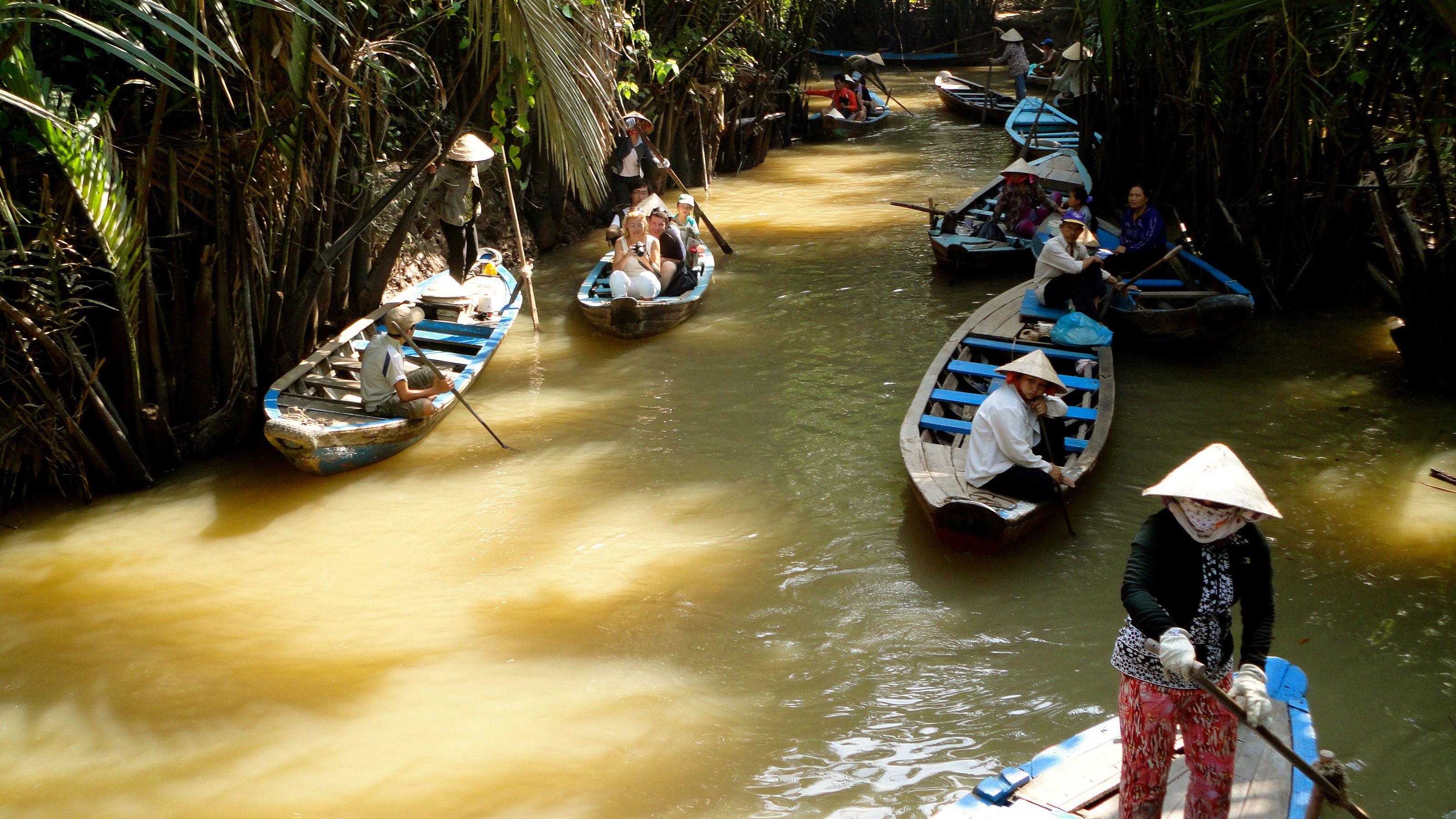 Scenic river cruise along the beautiful Mekong River in Vietnam
