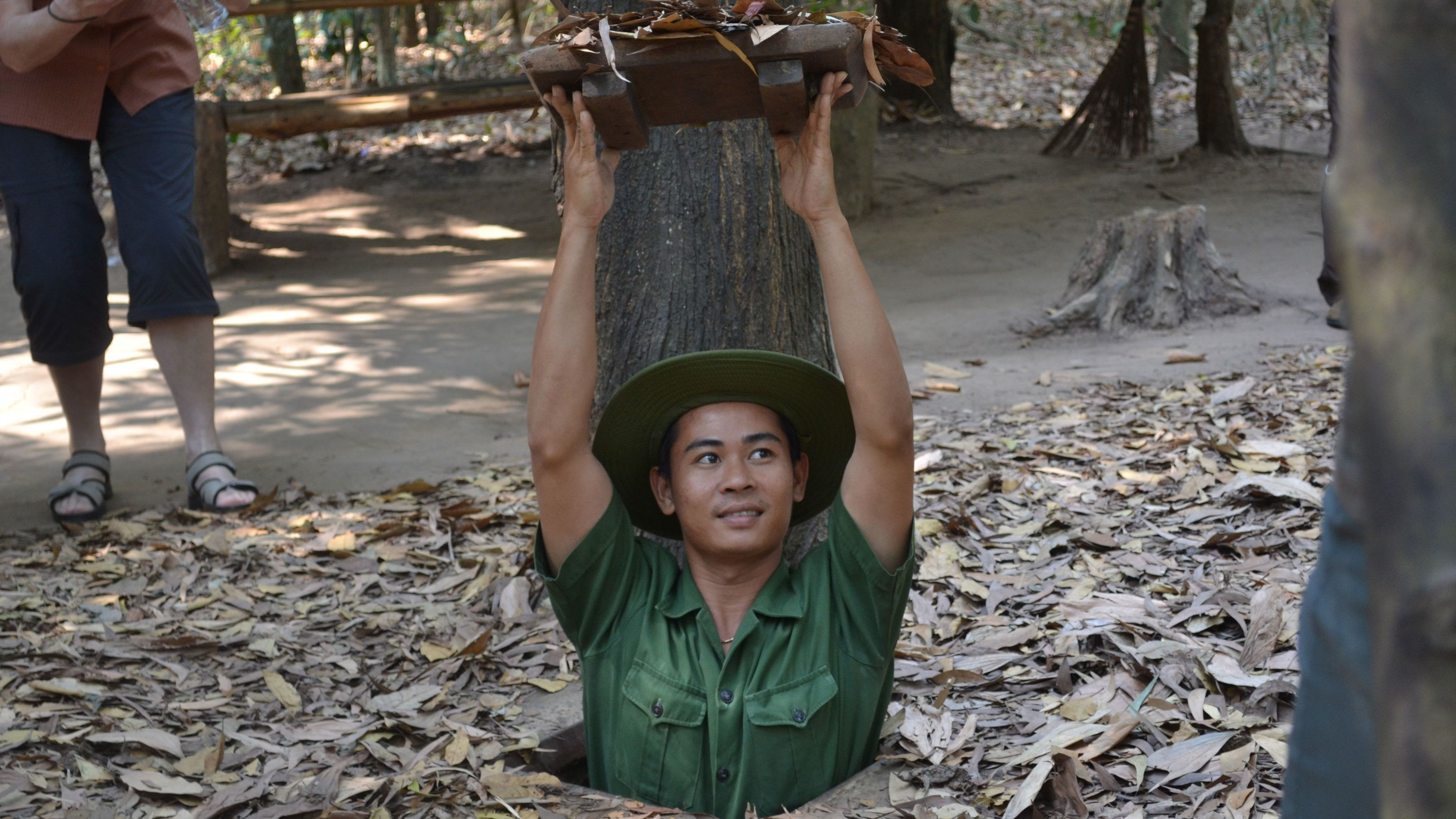 Person going out of the Cu Chi Tunnels in Tay Ninh