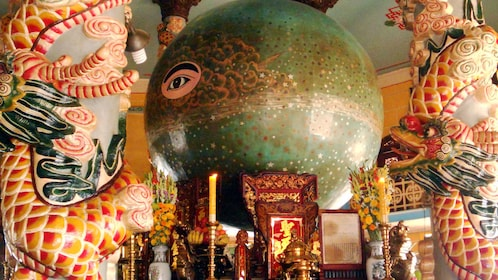 Close view of the alter inside the Cao Dai Temple in Tay Ninh
