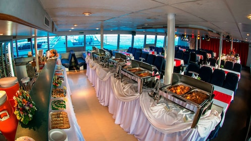 Dinner buffet on a boat in Bali