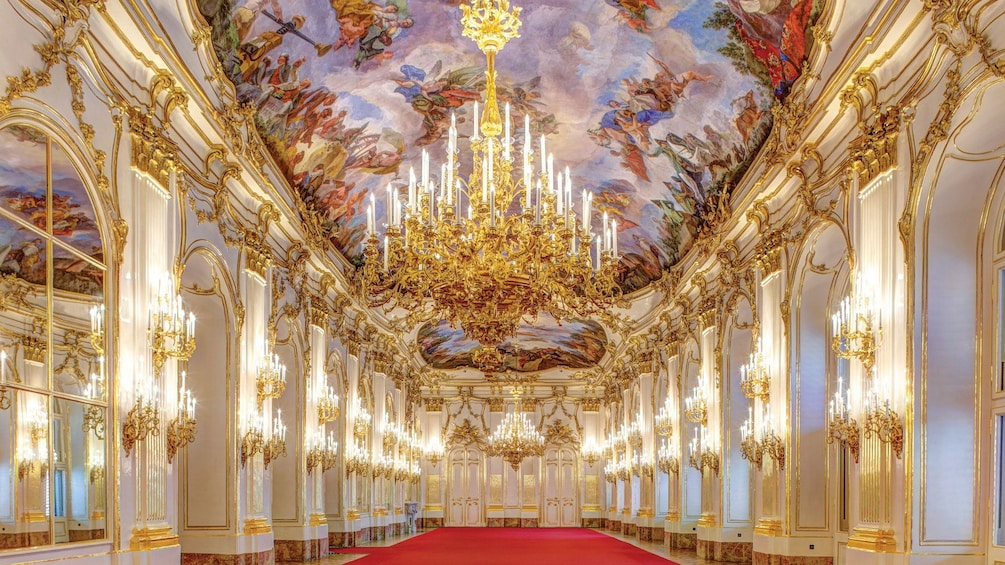 Interior hallway of Schönbrunn Palace in Vienna