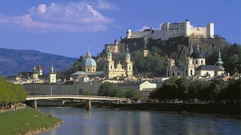 Salzach River with the city in the background in Salzburg