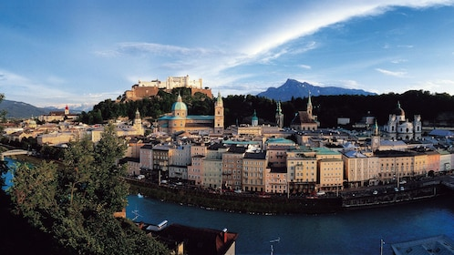 Panoramic view of the city along the river in Salzburg