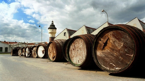 Large barrels outside a brewery in Prague