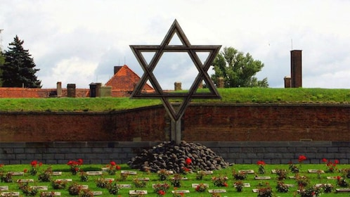 Star of David statue at a cemetery at a memorial at the Terezin Concentration Camp in Prague