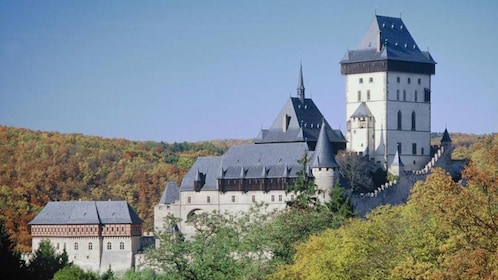 Gothic Karlstejn Castle and surrounding forest in the Czech Republic